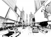 City hand drawn unique perspectives vector illustration