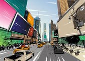 City hand drawn unique perspectives vector illustration