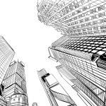 City hand drawn unique perspectives, vector illust...