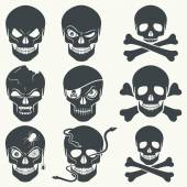 Vector set of different skulls Black silhouette on a white background isolated EPS 8