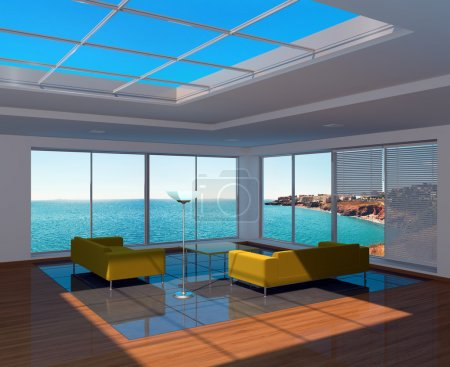 Living room interior with sea view