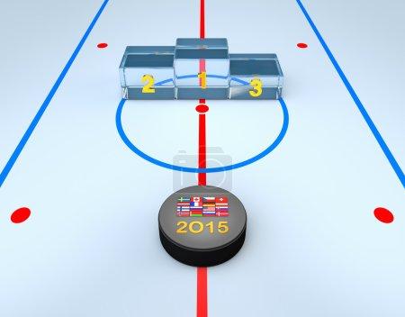 Hockey puck and winners podium on hockey playground
