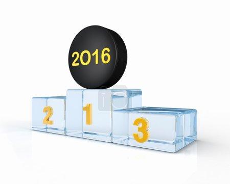 Hockey puck 2016 on ice winners podium