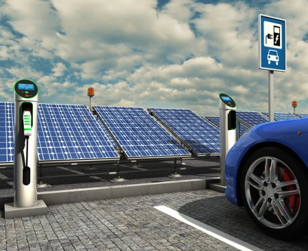 Electric car and electric solar charge point