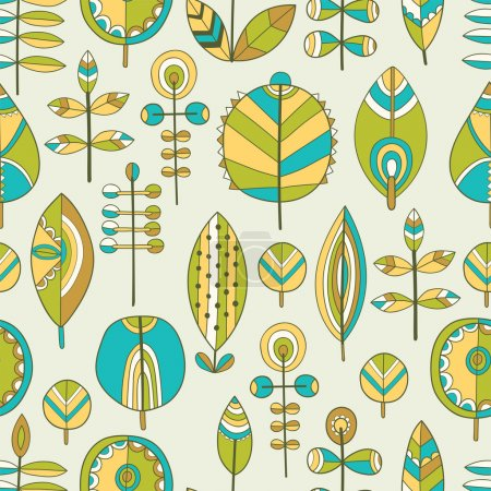 Seamless pattern of hand drawn leaves
