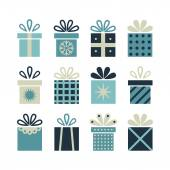 Set of flat gift packages Christmas gifts