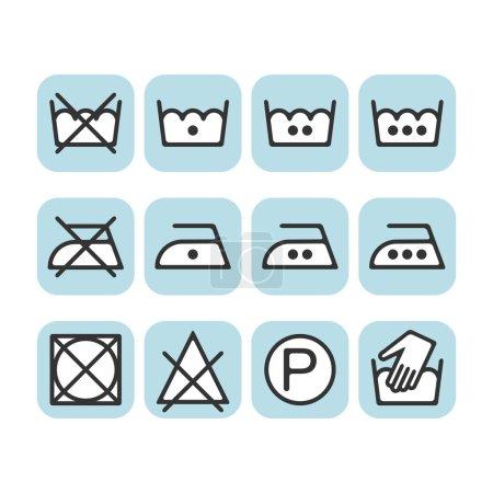 Set of instruction laundry icons, care icons, washing symbols