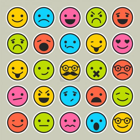 Illustration for Set of emoticons, faces icons - Royalty Free Image