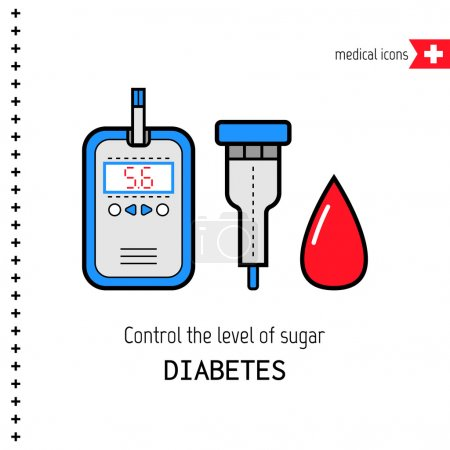 Illustration for The test for diabetes. Medical flat icons. Check the level of glucose in the blood - Royalty Free Image