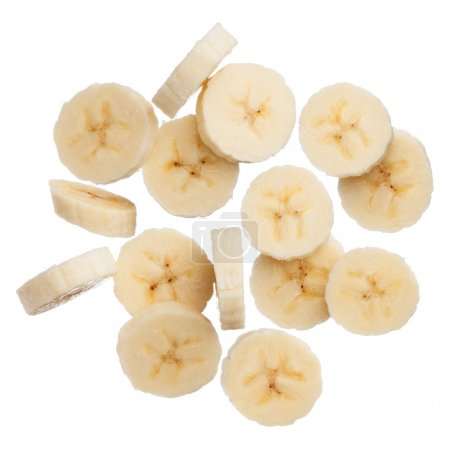 Banana slices isolated on white background
