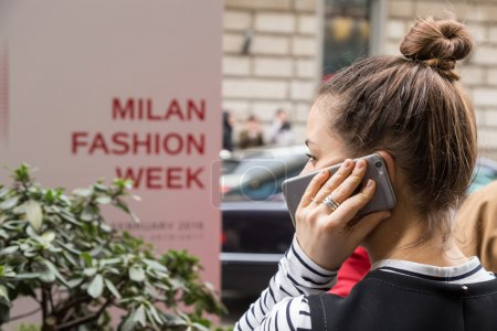 Fashionable woman outside Sportmax fashion show during Milan Wom