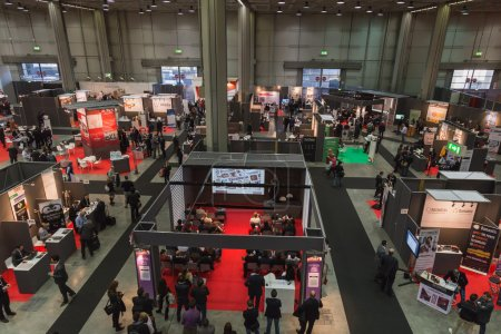 Photo for MILAN, ITALY - OCTOBER 22: Top view of people and booths at Smau, international exhibition of information communications technology on OCTOBER 22, 2014 in Milan. - Royalty Free Image