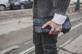 Detail of a bag outside Gucci fashion show building for Milan Men's Fashion Week 2015