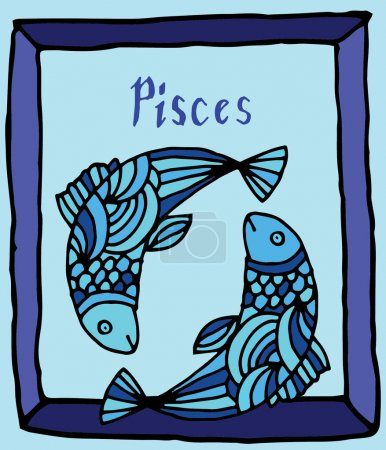Vivid Pisces horoscope sign vectorized hand draw