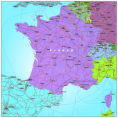 Road and administrative map of France