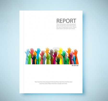 Cover report hands of different colors background, vector illust