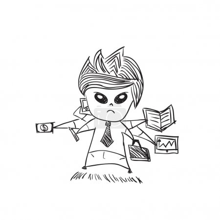 Businessman with cute characters businessman, drawing by hand ve