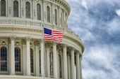 Washington dc capitol detail s americkou vlajkou