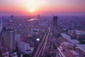 Bird eye view of Bangkok at sunset time