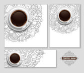 Coffee Designs Templates Set in Outline Hand Drawn Doodle Style with Different Objects on Coffee Theme  Realistic Vector Coffee Cup on Center Vector Illustration