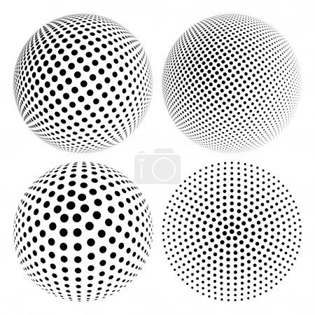 Illustration for Set of Abstract Halftone 3D Sphere with Circle Dots. Futuristic Design Element in Techno Style. Vector illustration. - Royalty Free Image