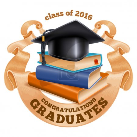 Illustration for Black graduation cap on stack of books with vintage ribbon. Isolated on white background. Congratulation Graduates inscription on ribbon. Graduation concept. Vector illustration. - Royalty Free Image