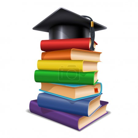 Illustration for Black graduation cap on stack of books. Isolated on white background. Graduation concept. Back to school concept. Vector illustration. - Royalty Free Image