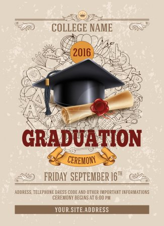 Illustration for Vector template of announcement or invitation to Graduation ceremony or party with unusual realistic image of Graduation cap and diploma. There is place for your text. - Royalty Free Image