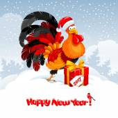New Year greeting with rooster