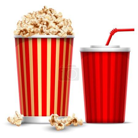 Photo pour Bol en carton rempli de pop-corn et verre en papier de boisson - image libre de droit