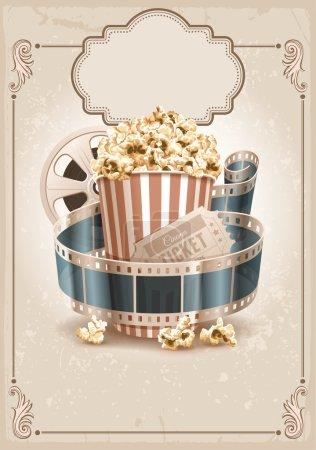 Popcorn bowl, film strip and ticket. Cinema attrib...