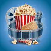 Popcorn bowl film strip and ticket Cinema attributes Detailed vector illustration