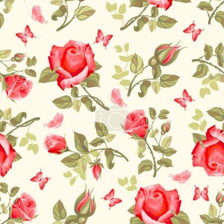 Retro flower seamless pattern - roses