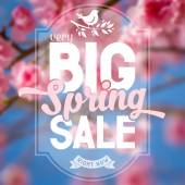 Advertisement about the spring sale on defocused background with beautiful cherry blossom Vector illustration
