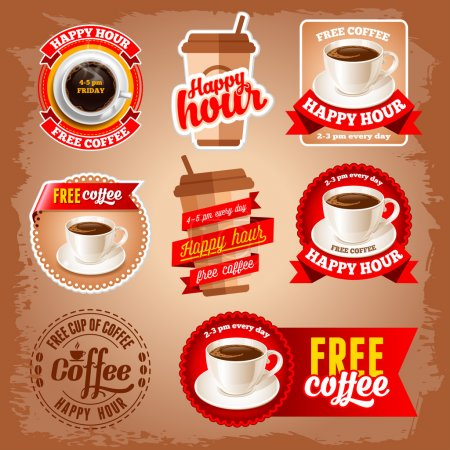 Illustration for Set of happy hour and free coffee labels for restaurant, bar, cafe. - Royalty Free Image