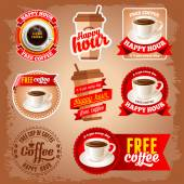 Set of happy hour and free coffee labels for restaurant bar cafe
