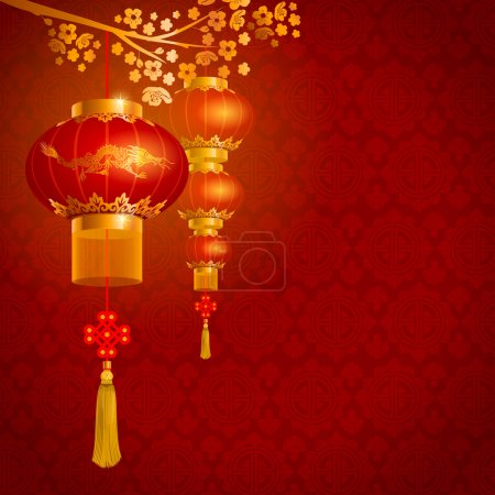 Illustration for Beautiful vector background with red paper circular Chinese lanterns - Royalty Free Image