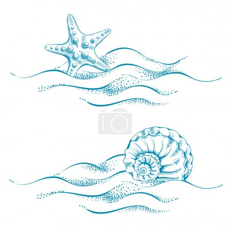 Illustration for Summer sea background with sand, seashell and sea star. Vector. Drawn in technique etching. - Royalty Free Image