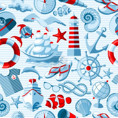 Illustration for Vector Nautical and marine seamless background. - Royalty Free Image
