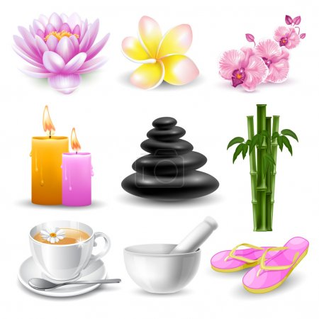 Illustration for Vector set of beautiful icons or design elements on SPA and healthy lifestyle theme. Isolated on white background. - Royalty Free Image