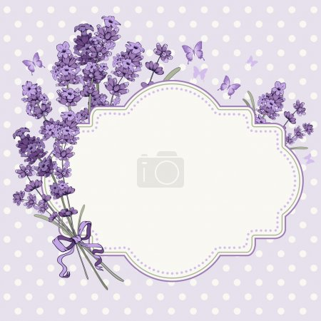 Illustration for Cute vintage greeting or invitation card with hand drawn floral elements in engraving style - fragrant lavender. Vector illustration. - Royalty Free Image