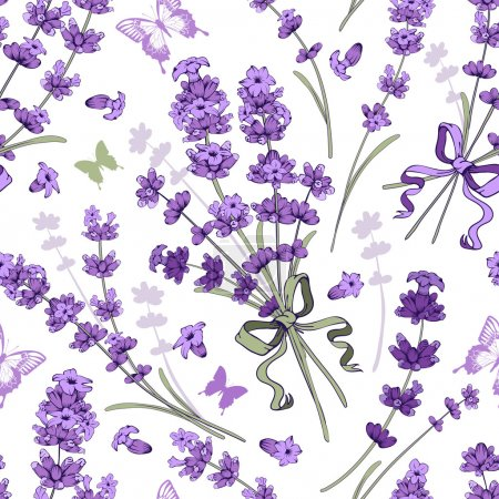 Illustration for Seamless pattern with hand drawn floral elements in engraving style - fragrant lavender. Vector illustration. - Royalty Free Image