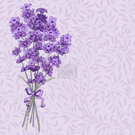 Illustration for Vintage pattern with hand drawn floral bouquet of fragrant lavender in engraving style. Vector illustration. - Royalty Free Image