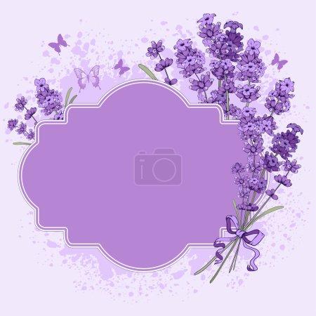 Illustration for Gentle vintage label with hand drawn floral elements in engraving style - fragrant lavender. Vector illustration. - Royalty Free Image