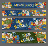 Back to School horizontal banners with hand drawn doodle stationery and other school subjects Proportions - standard for web Vector illustration
