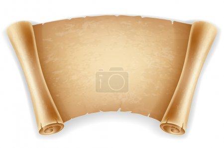 Illustration for Horizontal old scroll paper with space for your text. Retro styled. Isolated on white background. - Royalty Free Image