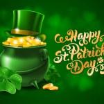 Saint Patricks Day Card Design with Treasure of Le...