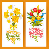 Happy Birthday Themed Vector Card Set Hand Drawn Calligraphic Overlays Happy Birthday To You Vintage Style Daffodils and tulips bouquets