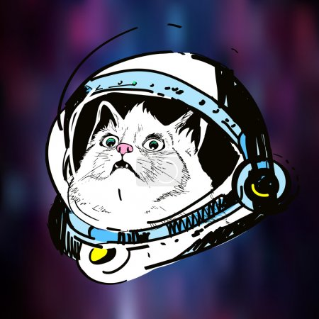 Illustration for Vector art, sketch, illustration, print on t-shirt, surprised cat in outer helmet in space, - Royalty Free Image