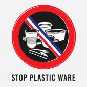 vector plastic tableware glass bowl cup knife fork stick Lifter coffee stop sign environment ban the French flag